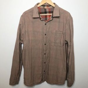 Merrell Shirts - Merrell Rust Tan Plaid Reversible Button D…